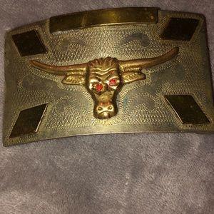 Vtg Cowboy Longhorn Bull Steer Hand Made Buckle